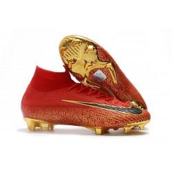 Nike Mercurial Superfly 6 Elite FG Herr Fotbollsskor -Röd Guld Svart