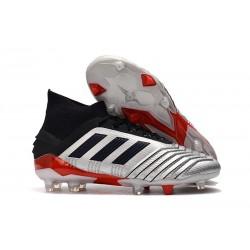 adidas Predator 19.1 FG Fotbollsskor - Silver Svart Röd