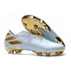 Fotbollsskor för Herrar adidas Nemeziz 19.1 FG Vit/Guld/Turkos LIMITED EDITION