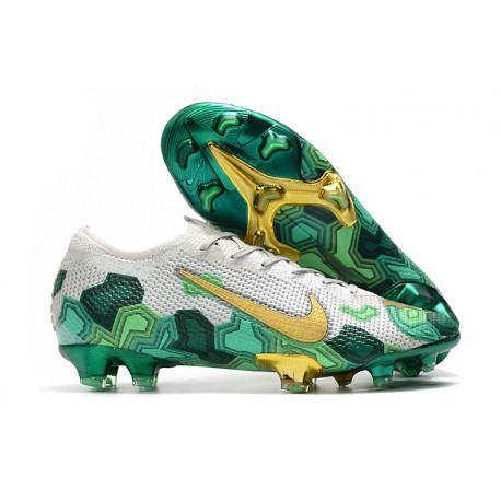 Mbappe Nike Fotbollsskor Mercurial Vapor XIII 360 Elite FG Grå Grön Guld