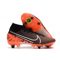 Nike Mercurial Superfly 7 Elite SG-PRO Anti-Clog Svart Orange Vit