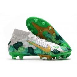Fotbollsskon Nike Mercurial Superfly 7 Elite AG-PRO Mbappe Grå Grön Guld