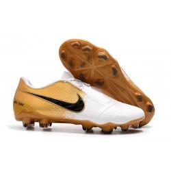 Nike Fotbollsskor för Män Phantom Vnm Elite FG -Vit Guld Svart