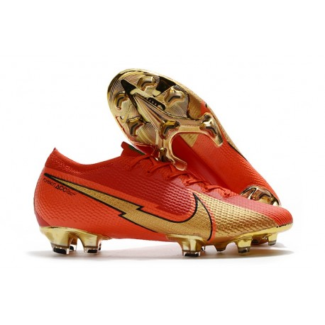 Nike Fotbollsskor Mercurial Vapor 13 Elite FG Ronaldo CR100 Röd Guld