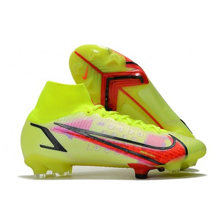 Nike Mercurial Superfly VIII Elite DF FG Volt Svart Bright Crimson